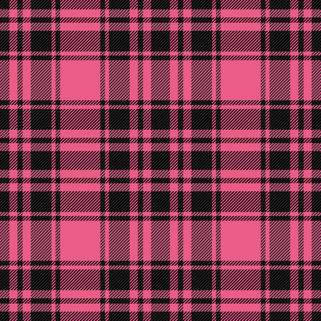 Valentine day tartan plaid. Scottish pattern in pink and black cage. Scottish cage. Traditional Scottish checkered background. Seamless fabric texture. Vector illustration