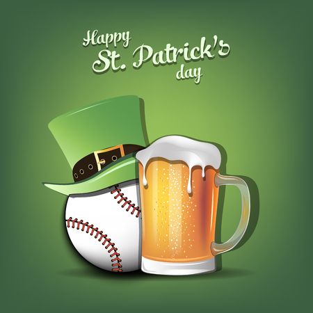 Happy St. Patricks day. Baseball ball with St. Patrick hat and mug of beer. Pattern for banner, poster, greeting card, party invitation. Vector illustration