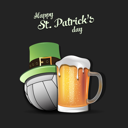 Happy St. Patricks day. Volleyball ball with St. Patrick hat and mug of beer. Pattern for banner, poster, greeting card, party invitation. Vector illustration