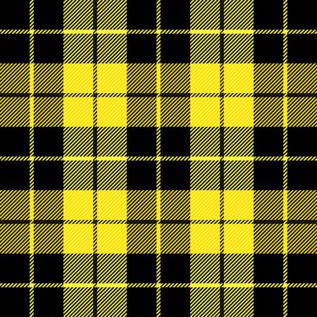Scozzese scozzese Wallace. Motivo scozzese in gabbia nera e gialla. gabbia scozzese. Sfondo scozzese a scacchi. Clan Wallace. Trama del tessuto senza soluzione di continuità. Illustrazione vettoriale