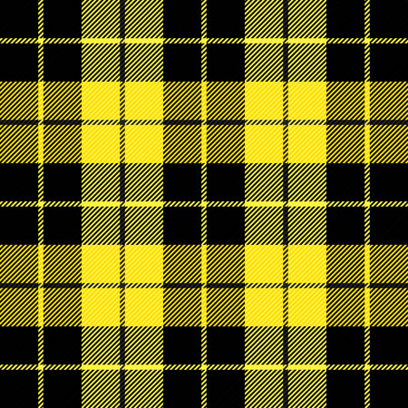 Wallace tartan plaid. Scottish pattern in black and yellow cage. Scottish cage. Scottish checkered background. Clan Wallace. Seamless fabric texture. Vector illustration