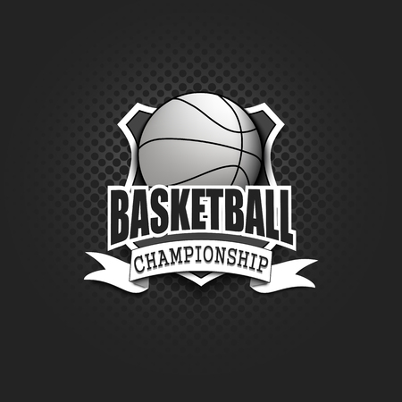 Basketball logo template design. Black and White. Vintage Style. Isolated on black background. Vector illustration