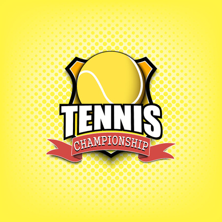 Tennis logo template design. Black and White. Vintage Style. Isolated on yellow background. Vector illustration