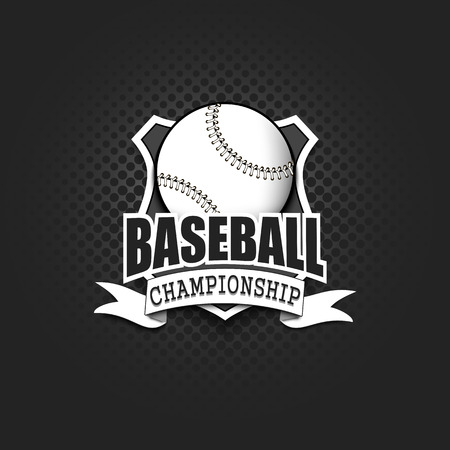 Baseball logo template design. Black and White. Vintage Style. Isolated on black background. Vector illustration