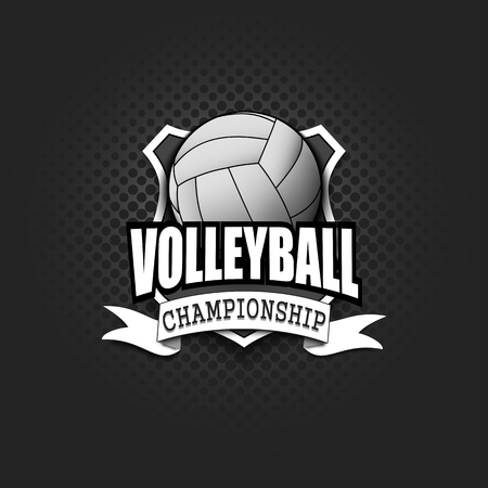 Volleyball logo template design. Black and White. Vintage Style. Isolated on black background. Vector illustration