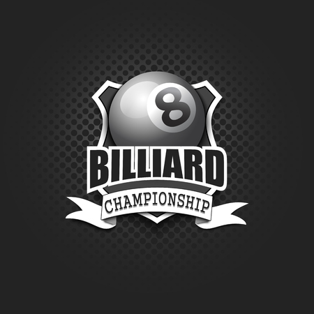 Billiard logo template design. Black and White. Vintage Style. Isolated on black background. Vector illustration