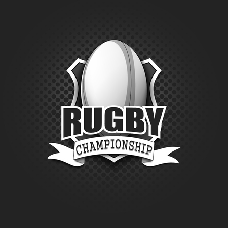 Rugby logo template design. Black and White. Vintage Style. Isolated on black background. Vector illustration Çizim