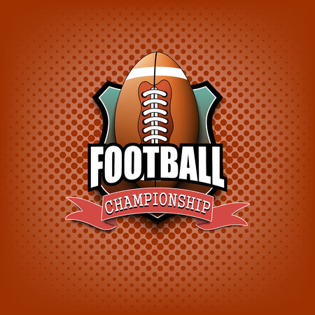 Football logo template design. Vintage Style. Isolated on orange background. Vector illustration Illustration