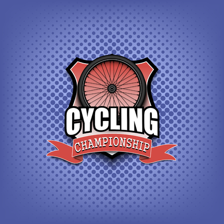 Cycling logo template design. Black and White. Vintage Style. Isolated on white background. Vector illustration