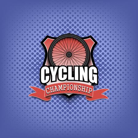 Progettazione del modello di logo in bicicletta. Bianco e nero. Stile vintage. Isolato su sfondo bianco. Illustrazione vettoriale