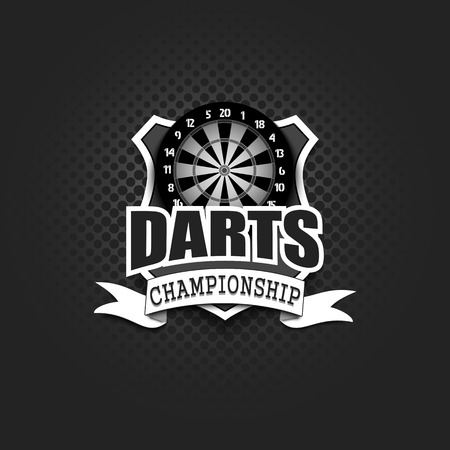 Darts logo template design. Black and White. Vintage Style. Isolated on black background. Vector illustration