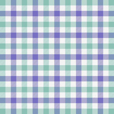 Easter Tartan plaid. Scottish pattern in green, white and violet cage. Scottish cage. Traditional Scottish checkered background. Seamless fabric texture. Vector illustration Illustration