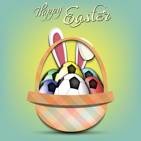 Happy Easter. Basket with decorated eggs in the form of a soccer ball and rabbit ears on an isolated background. Pattern for greeting card, banner, poster, ad. Vector illustration Ilustração