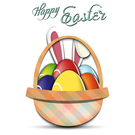 Happy Easter. Basket with decorated eggs in the form of a tennis ball and rabbit ears on an isolated background. Pattern for greeting card, banner, poster, ad. Vector illustration