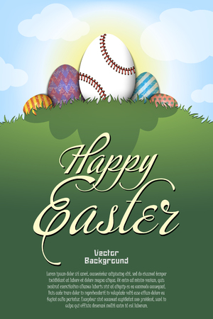 Happy Easter. Baseball ball in the form of egg and easter painted eggs on a hill with grass on the background of the sun and cloud. Pattern for poster, greeting card, invitation. Vector illustration Illustration