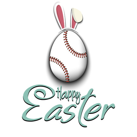 Happy Easter. Decorated egg in the form of a baseball ball with ears rabbit and vintage  lettering on an isolated background. Pattern for greeting card, banner, poster, ad. Vector illustration