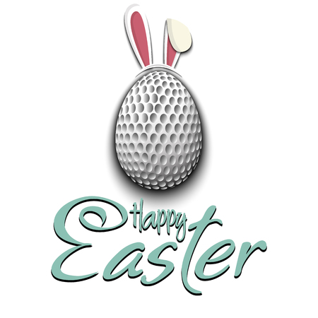 Happy Easter. Decorated egg in the form of a golf ball with ears rabbit and vintage  lettering on an isolated background. Pattern for greeting card, banner, poster, ad. Vector illustration