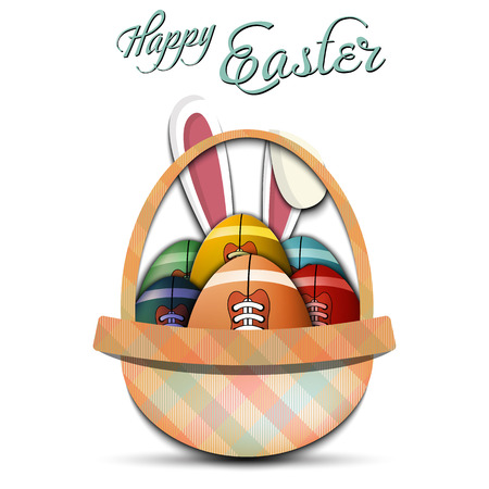 Happy Easter. Basket with decorated eggs in the form of a football ball and rabbit ears on an isolated background. Pattern for greeting card, banner, poster, ad. Vector illustration  イラスト・ベクター素材