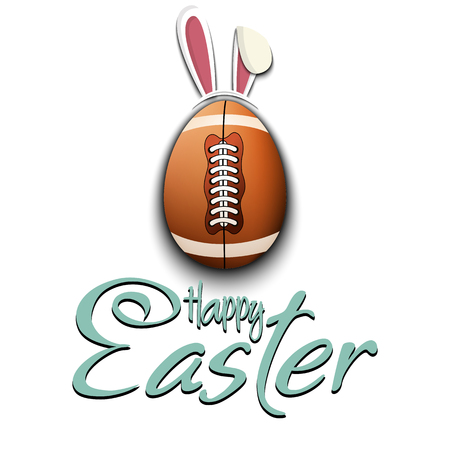 Happy Easter. Decorated egg in the form of a football ball with ears rabbit and vintage  lettering on an isolated background. Pattern for greeting card, banner, poster, ad. Vector illustration