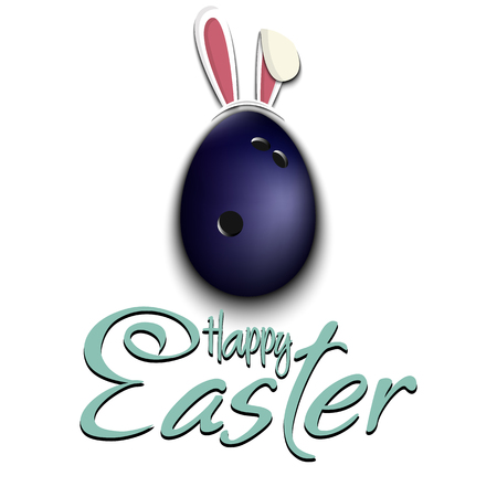Happy Easter. Decorated egg in the form of a bowling ball with ears rabbit and vintage  lettering on an isolated background. Pattern for greeting card, banner, poster, ad. Vector illustration 向量圖像