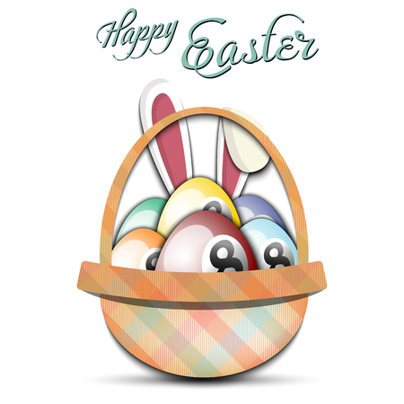 Happy Easter. Basket with decorated eggs in the form of a billiard ball and rabbit ears on an isolated background. Pattern for greeting card, banner, poster, ad. Vector illustration