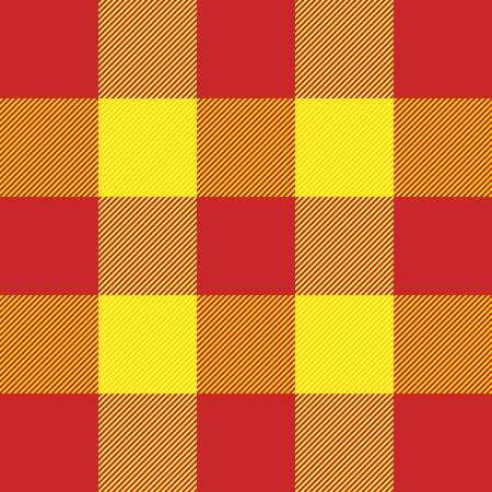 Tartan plaid. Scottish pattern in red and yellow cage. Scottish cage. Traditional Scottish checkered background. Seamless fabric texture. Vector illustration