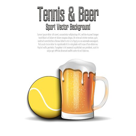 Tennis ball with mug of beer. Pattern for banner, poster, greeting card, party invitation, signboard, menu pub. Vector illustration Illustration