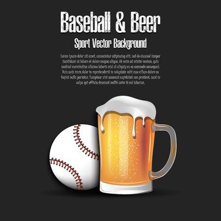 Baseball ball with mug of beer. Pattern for banner, poster, greeting card, party invitation, signboard, menu pub. Vector illustration Illustration