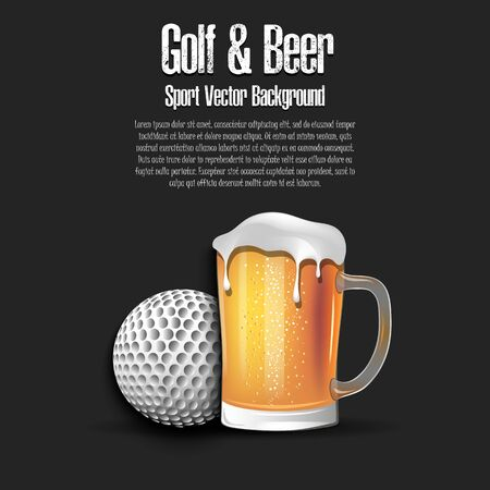Golf ball with mug of beer. Pattern for banner, poster, greeting card, party invitation, signboard, menu pub. Vector illustration Stock Illustratie