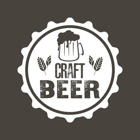 Bier typografie. Bier logo sjabloonontwerp. Grunge-stijl. Bier reclame. vector illustratie