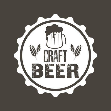 Typographie de la bière. Conception de modèle de logo de bière. Style Grunge. Publicité de bière. Illustration vectorielle