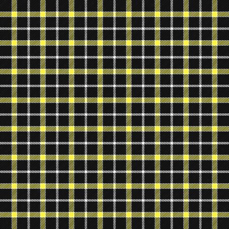 Tartan plaid. Scottish pattern in black, yellow and white cage. Scottish cage. Traditional Scottish checkered background. Seamless fabric texture. Vector illustration Ilustración de vector