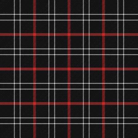 Tartan plaid. Scottish pattern in black, red and white cage. Scottish cage. Traditional Scottish checkered background. Seamless fabric texture. Vector illustration Ilustração