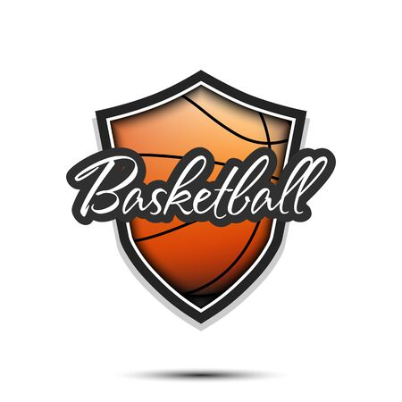 Basketball logo design template. Basketball emblem pattern. Basketball ball and shield with vintage lettering on an isolated background. Print on t-shirt graphics. Vector illustration