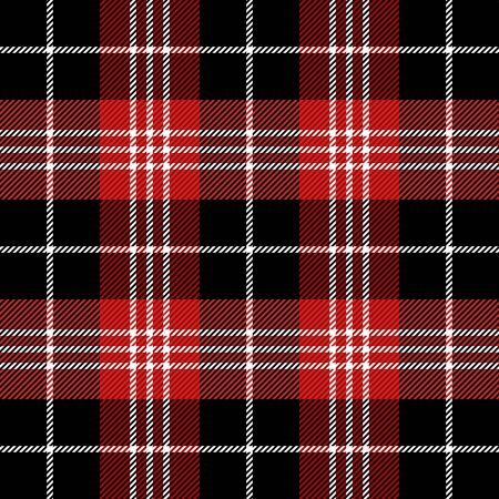 Tartan plaid. Scottish pattern in black, white and red cage. Scottish cage. Traditional Scottish checkered background. Seamless fabric texture. Vector illustration