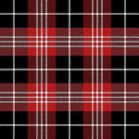 Tartan scozzese. Motivo scozzese in gabbia nera, bianca e rossa. gabbia scozzese. Fondo a scacchi scozzese tradizionale. Trama del tessuto senza soluzione di continuità. Illustrazione vettoriale