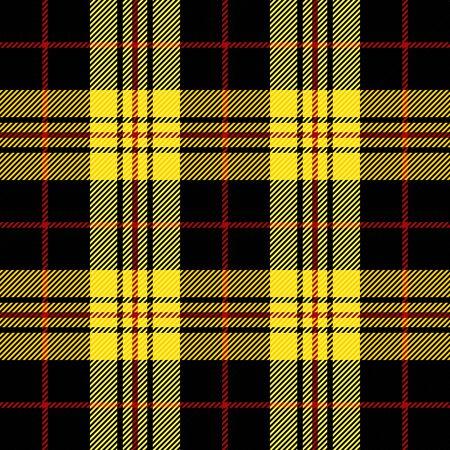 Tela escocesa de tartán. Patrón escocés en jaula negra, amarilla y roja. Jaula escocesa. Fondo a cuadros tradicional escocés. Textura de tela sin costuras. Ilustración vectorial