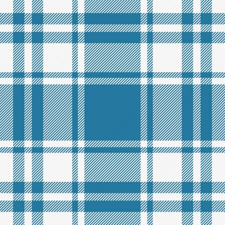 Tartan plaid. Scottish pattern in blue and white cage. Scottish cage. Traditional Scottish checkered background. Seamless fabric texture. Vector illustration