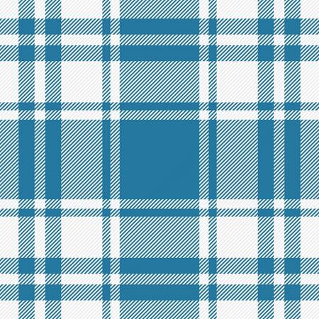 Tela escocesa de tartán. Patrón escocés en jaula azul y blanca. Jaula escocesa. Fondo a cuadros tradicional escocés. Textura de tela sin costuras. Ilustración vectorial