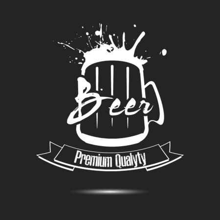 Craft beer typography. Beer logo template design. Grunge Style. Beer advertising. Vector  illustration 矢量图像