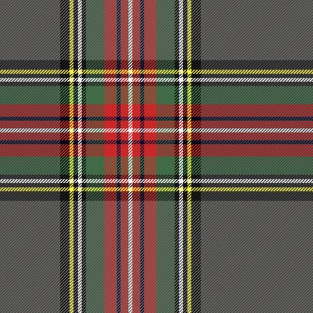 Tartan Stewart Royal  plaid. Scottish pattern in grey, red and black cage. Scottish cage. Traditional Scottish checkered background. Seamless fabric texture. Vector illustration  イラスト・ベクター素材