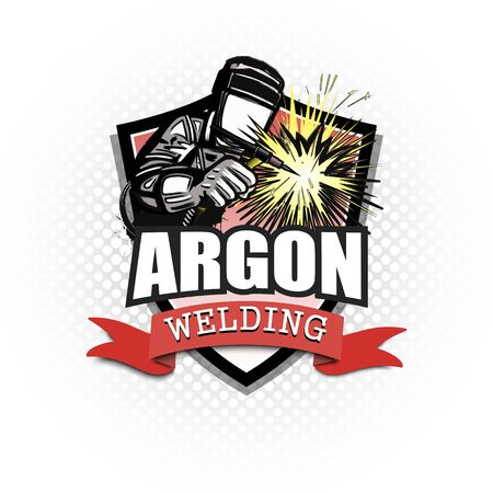 Logo welder in a mask performing argon welding of the metal. Argon welding logo template design. Isolated on white background. Vector illustration Vettoriali