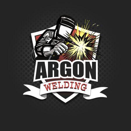 Logo welder in a mask performing argon welding of the metal. Argon welding logo template design. Isolated on black background. Vector illustration Illustration