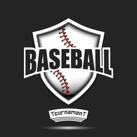 Baseball design template. Baseball emblem pattern. Baseball ball and shield with vintage lettering on an isolated background. Print on t-shirt graphics. Vector illustration Stock Illustratie