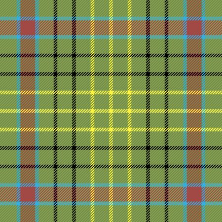 Sutherland tartan plaid. Scottish pattern in green, black, yellow and red cage. Scottish cage. Traditional Scottish checkered background. Seamless fabric texture. Vector illustration Çizim