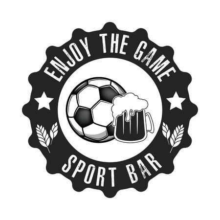 Soccer ball and beer symbol for football sport bar emblem template. Soccer ball and beer glass. Vintage style on isolated background. Vector illustration Stock Illustratie