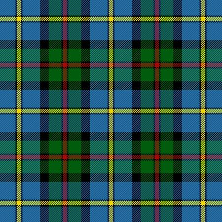 tartan plaid. Scottish pattern in green, black, yellow and red cage. Scottish cage. Traditional Scottish checkered background. Seamless fabric texture. Vector illustration