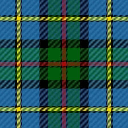 MacLeod tartan plaid. Scottish pattern in green, black, yellow and red cage. Scottish cage. Traditional Scottish checkered background. Seamless fabric texture. Vector illustration