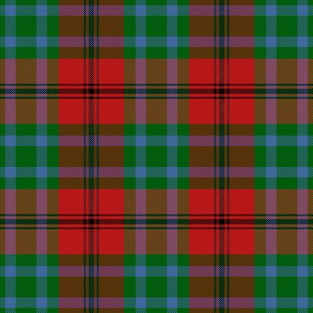 Caledonia tartan plaid. Scottish pattern in green, black, red and blue cage.. Scottish checkered background. Traditional scottish ornament. Seamless fabric texture. Vector illustration