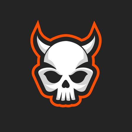 Skull icon. Skull design template. Skull with horns in vintage style. Vector illustration